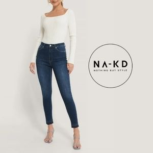 (Tall) Open Hem High Rise Skinny Jeans by NA-KD